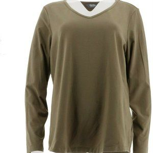 Martha Stewart Classics V Neck T Shirt Top Olive